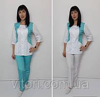 Жіночий медичний костюм Ліка стрейч-котон три чверті рукав
