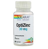 Цинк (30 мг) и витамин B6 (20 мг), Solaray, Био-цинк, 60 капсул