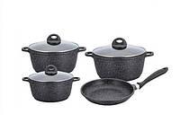 Набор посуды Benson BN-313 (7 предметов) мраморное покрытие | кастрюля | сковорода | кастрюли | сковородка, фото 1