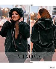 Шубка-куртка короткая женская с капюшоном размеры: 48-58, фото 3