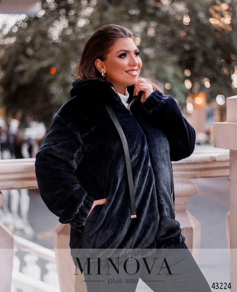 Шубка-куртка короткая женская с капюшоном размеры: 48-58