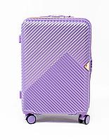 Чемодан пластиковый Wings WN01 средний (M, 60 л) на 4 сдвоенных колесах Фиолетовый (Silver purple)