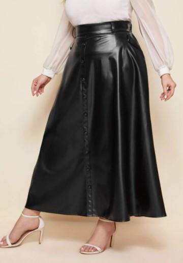 юбка женская больших размеров из экокожи