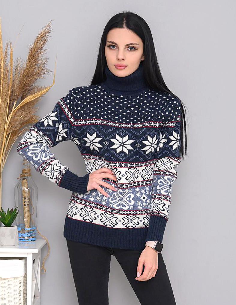 Турецкий теплый свитер с зимними рисунками 42-46 (в расцветках)