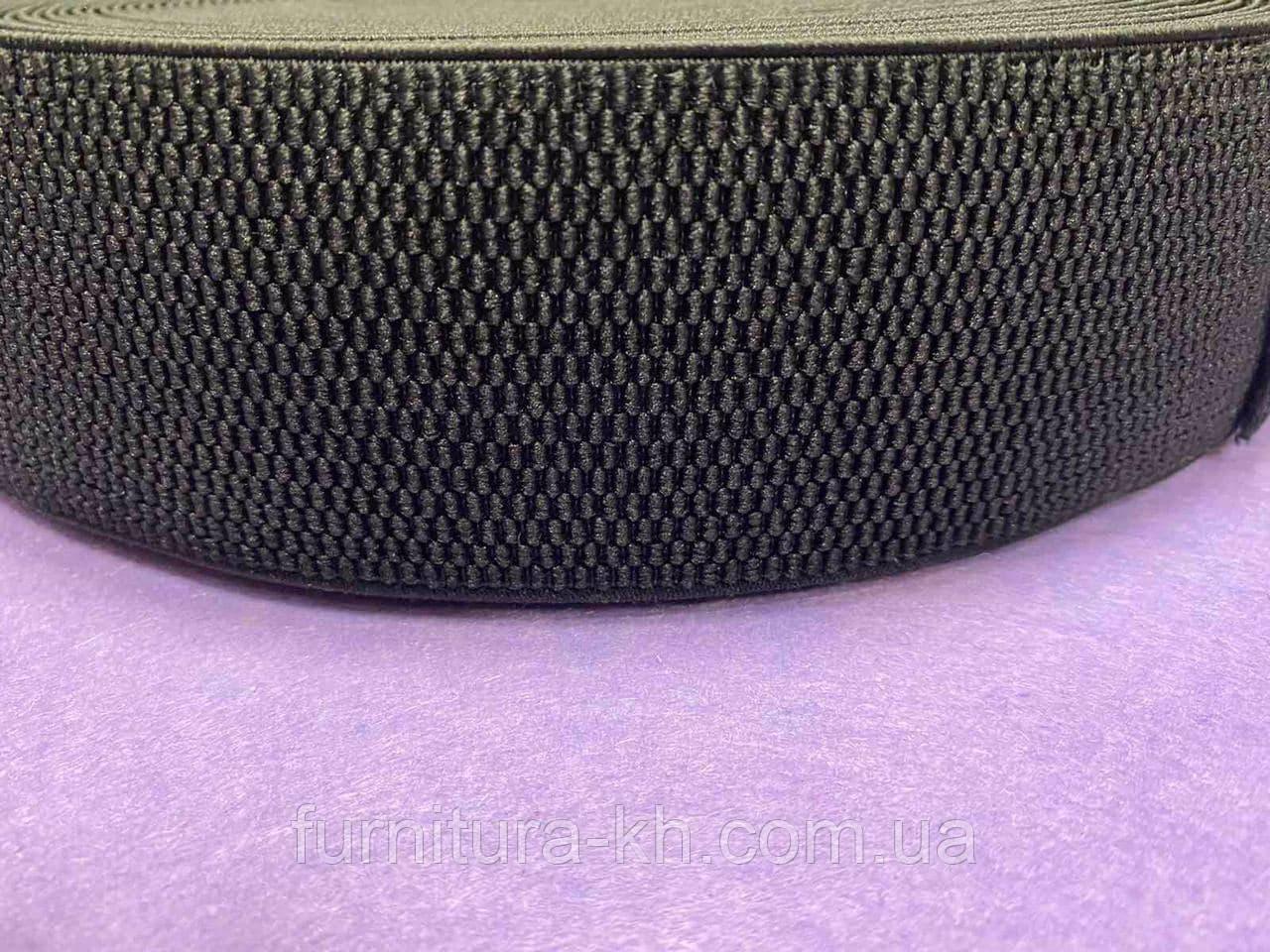 Резинка Поясная-Манжетная Черная 6 см. В рулоне 25 м