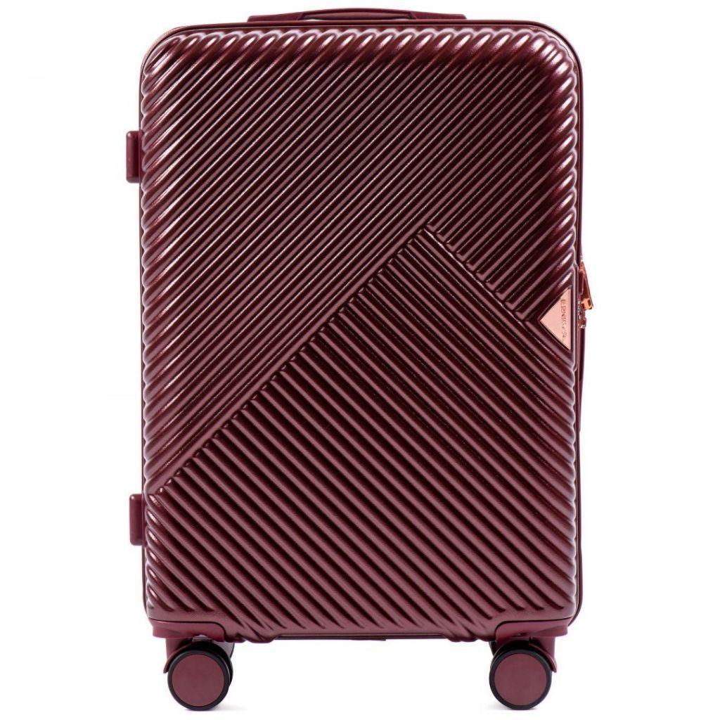 Чемодан пластиковый Wings WN01 средний (M, 60 л) на 4 сдвоенных колесах Бордовый (Wine red)