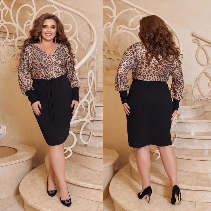 Женское нарядное платье  большого размера. Ткань: трикотаж принт напыление, креп дайвинг.