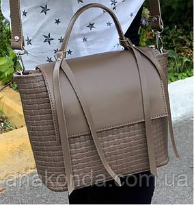 702 Натуральная кожа, Женская кожаная сумка кофейная через плечо кросс-боди среднего размера с тиснением 3D