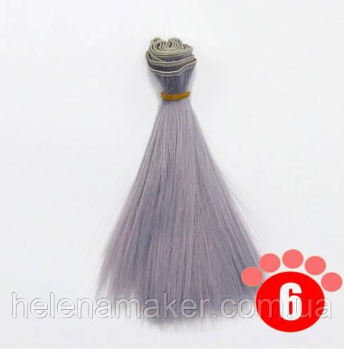 Прямі волосся тресс для ляльок 15 см * 100 див. Сіро-блакитні