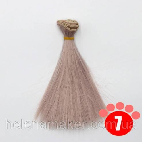 Прямі волосся тресс для ляльок 15 см * 100 див. Рожеве дерево