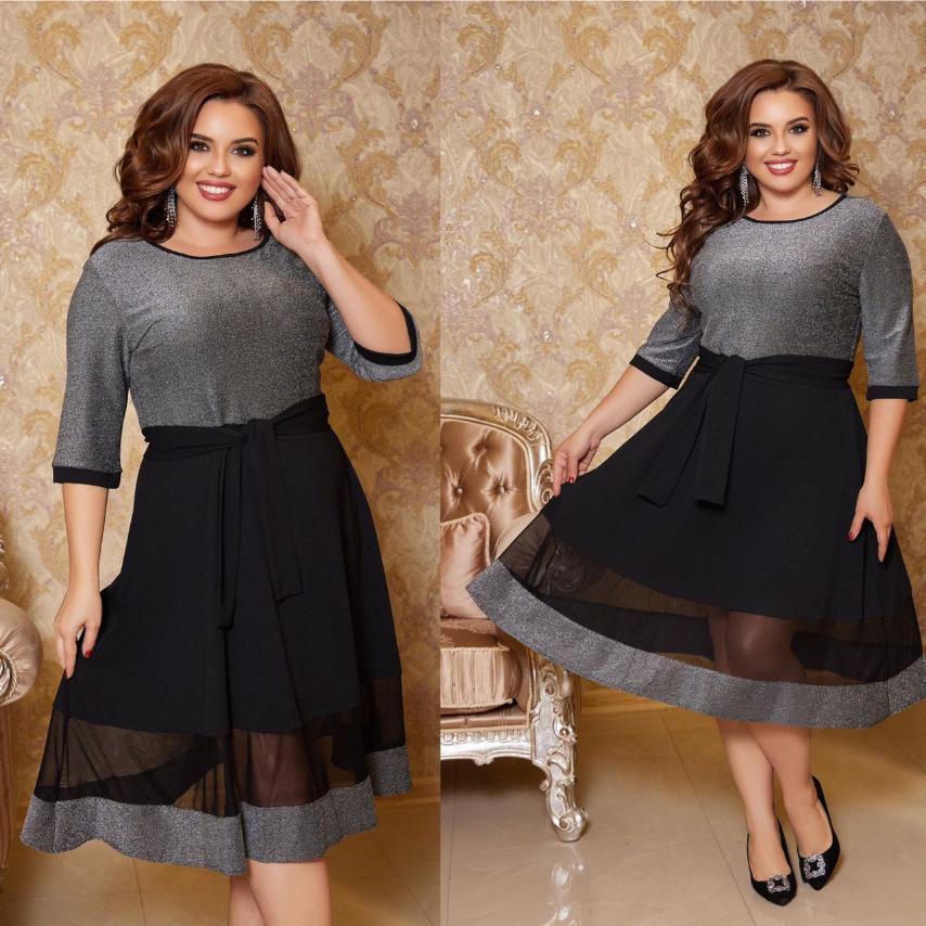 Женское платье с люрексом большого размера. Ткань: трикотаж люрекс, креп дайвинг, сетка.