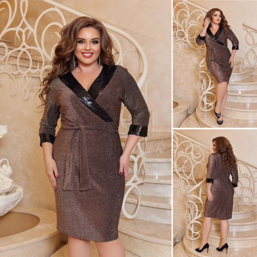 Женское платье большого размера нарядное, вечернее. Цвет - бронзовый/чёрный, синий/чёрный,серебро/чёрный.