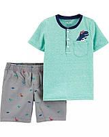 Детский летний костюм - шорты и футболка с динозаврами Картерс для мальчика