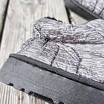 Дутики сліпони автоледі сірі чорні на хутрі зимові міні уггі укорочені короткі, фото 2