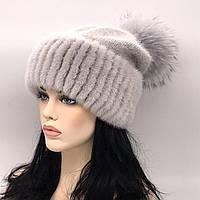 Шикарная женская шапка зимняя с мехом норки разные цвета 0101