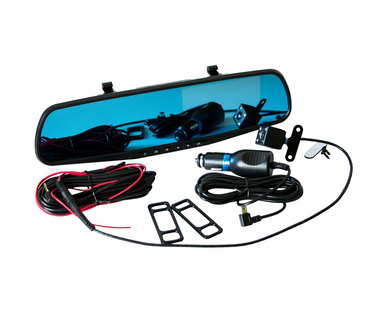 Зеркало-видеорегистратор Vehicle Blackbox DVR Full HD с камерой заднего вида Черный (2369)