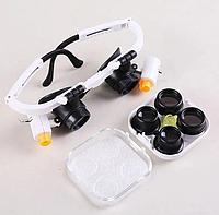 Очки лупа бинокулярные с подсветкой 9892Rd (кратность 6х, 10x, 25x), фото 1