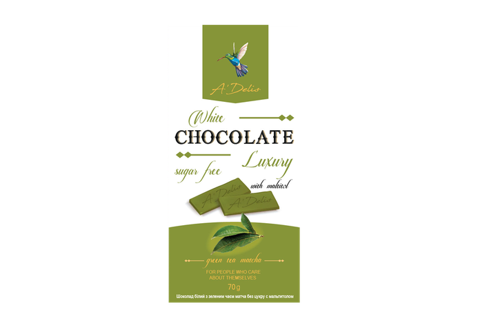 Белый шоколад с Матча без сахара, фото 2