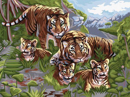 """Картина по номерам """"Семья тигров"""" KpN-03-06"""