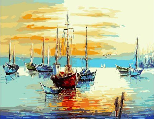 """Картина по номерам """"Залив с лодками"""" ★★★ VA-2121"""