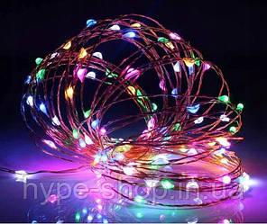 Светодиодная гирлянда нить LTL длина 10м 100led 220в разноцветная RGB