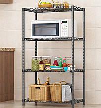 Кухонний стелаж для мікрохвильовки та побутової техніки на 4 полиці нержавіючий