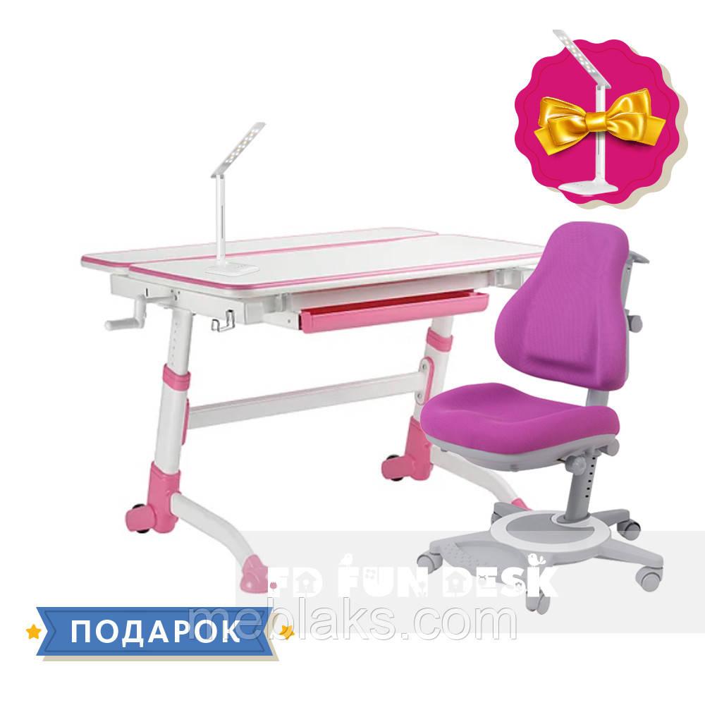 Комплект для подростков растущая парта FunDesk Volare Pink + ортопедическое кресло FunDesk Bravo Purple