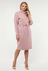 Тёплое красивое женское платье розовое