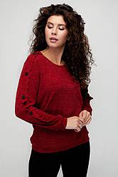 Туника женская тёплая стильная бордо