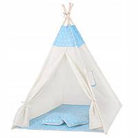 Детская палатка домик (вигвам) Springos Tipi XXL TIP06 White/Sky Blue. Палатка для детей игровая