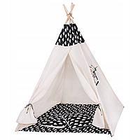 Детская палатка домик (вигвам) Springos Tipi XXL TIP01 White/Black. Палатка для детей игровая