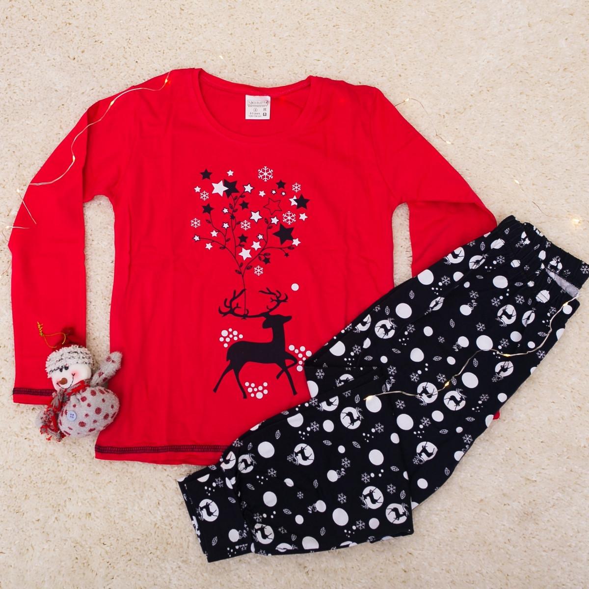 Новогодняя пижама  для девочек с оленем   Nicoletta 95060