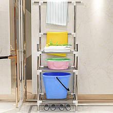 Складной открытый стеллаж с полками - этажерка в ванную комнату