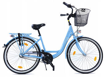 Велосипед женский городской Cossack LOW LINE 26 Nexus 3 Blue с корзиной Польша