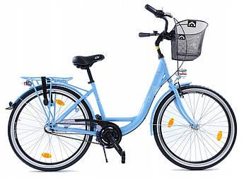 Велосипед жіночий міський Cossack LOW LINE 26 Nexus 3 Blue з кошиком Польща