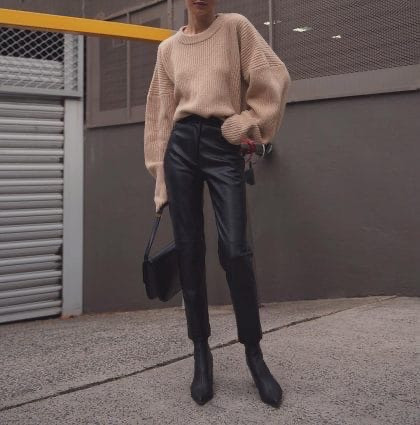 Кожаные брюки на флисе женские в стиле манго