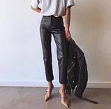 Кожаные брюки на флисе женские в стиле манго, фото 2