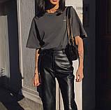 Кожаные брюки на флисе женские в стиле манго, фото 4