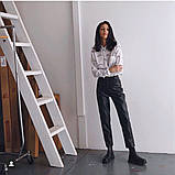 Кожаные брюки на флисе женские в стиле манго, фото 3