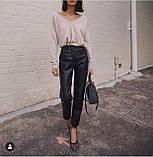 Кожаные брюки на флисе женские в стиле манго, фото 8