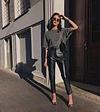 Кожаные брюки на флисе женские в стиле манго, фото 6