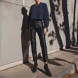 Кожаные брюки на флисе женские в стиле манго, фото 7