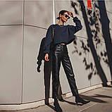 Кожаные брюки на флисе женские в стиле манго, фото 5