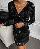 Платье женское пайетка на бархате вечернее новогоднее нарядное, фото 3