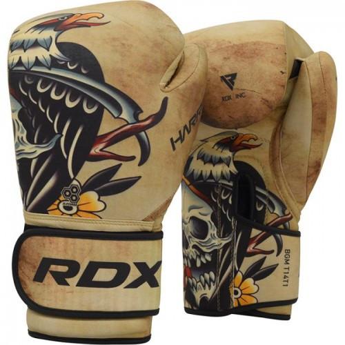 Боксерские перчатки RDX T14 HARRIER Brown Tattoo 12 ун.