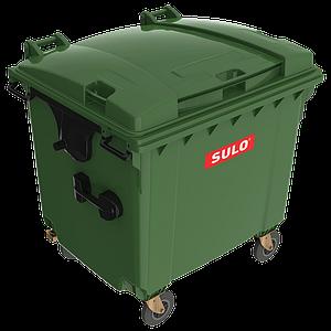 Контейнер мусорный ТБО Sulo 1100 л с плоской крышкой зеленый