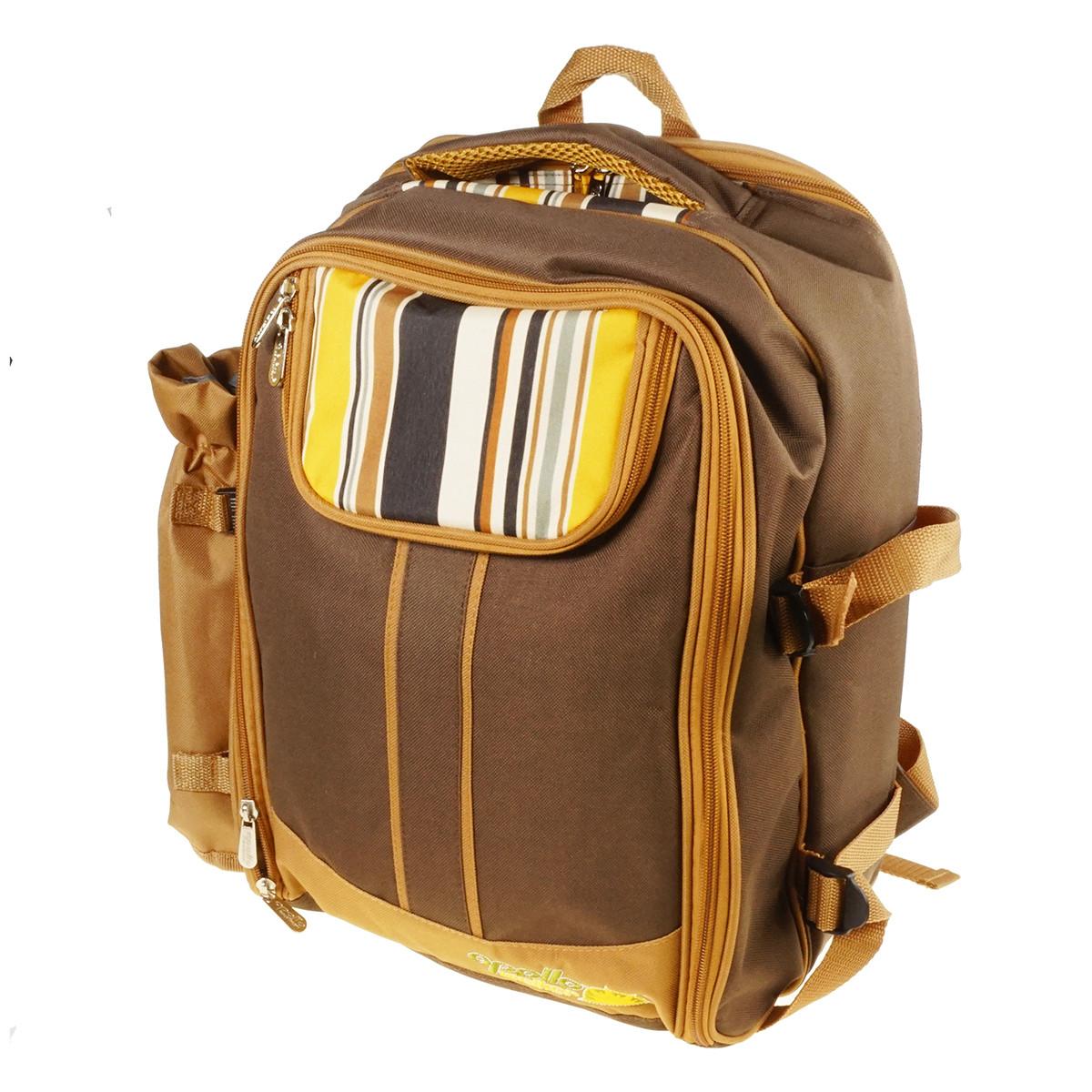 Рюкзак с набором для пикника на 4 персоны - посуда, столовые приборы, плед