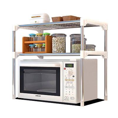 Настольный кухонный стеллаж под микроволновку с полками для посуды и специй