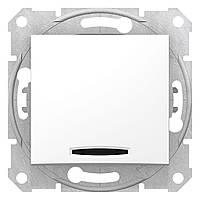 Вимикач 1-клавішний вбудований з підсвіткою білий, Schneider Electric Sedna (SDN1400121)