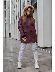 Женская зимняя куртка Staff time bordo long
